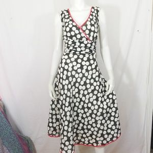 GNW retro black & white polka dot red trim dress